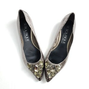 Sam Edelman Boutique Inga Snakeskin Jeweled Flats